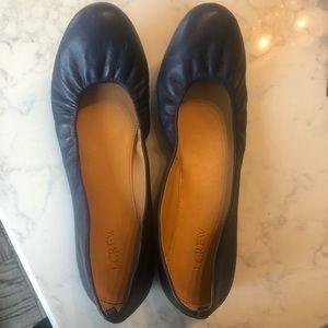 EUC JCrew Navy Blue Leather Ballet flats Size 11M